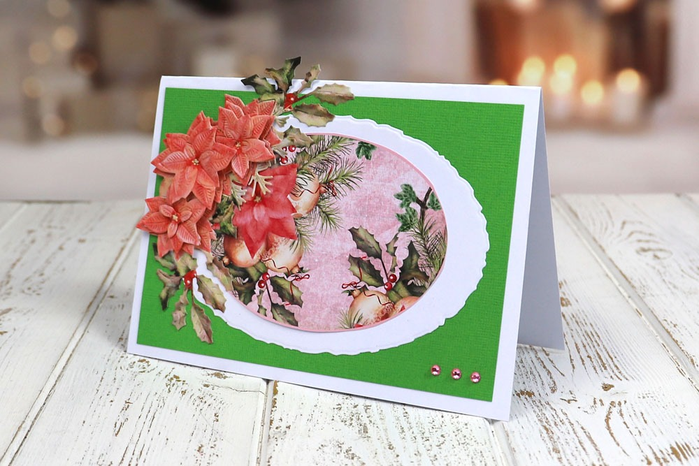 Tattered Lace x2 3D decoupaged Holly SWAG Die Cuts Carte Topper Noël