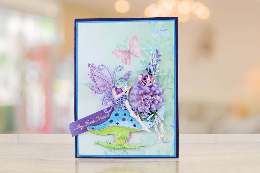 Tattered Lace STAR FLOWER FAIRY Craft Cutting Die Sat on Toadstool TLD0670